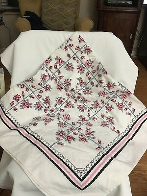 """Vintage Tablecloth Stamped Pink Gray Brown measures 44"""" square."""