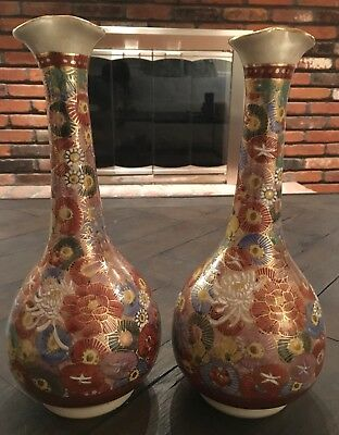 "Antique Japanese Satsuma 10"" Vases Signed Jukan Thousand Flowers Mille Fleurs"