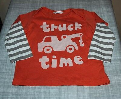 Mini Boden Baby Boys TRUCK TIME Graphic Stripe Tee T Shirt 6 12 Months
