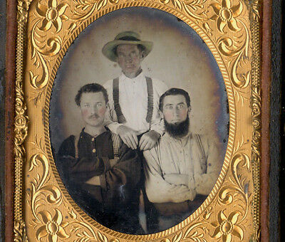 Rare Ambrotype Of Three Rustic Bearded American Farmers