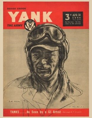 5 New Postcards, YANK - Tank Driver - Artwork by T/Sgt. Albert Gold - April 1944