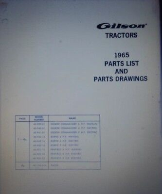 Gilson Commander Burns Penfield Pacer 6 9 hp Garden Tractor 1965 Parts Manual