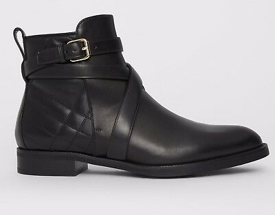 d292a72156ecf Brand New Burberry  750 Strap Detail Quilted Leather Ankle Boots Black Sz 37