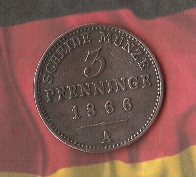 1866 German State- Prussia- 3 Pfenning- Large Old pre-Germany German Coin