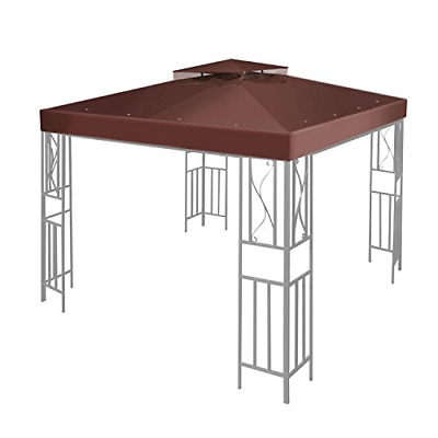 Flexzion 10' x 10' Gazebo Canopy Top Replacement Cover Brown - Dual Tier Up Tent