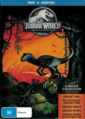 """""""THE JURASSIC WORLD 5 MOVIE COLLECTION"""" DVD, 5 Disc Set - Regions [4][2] NEW"""