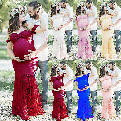 Pregnant Womens Off Shoulder Lace Maxi Dress Party Gown Maternity Photography AU