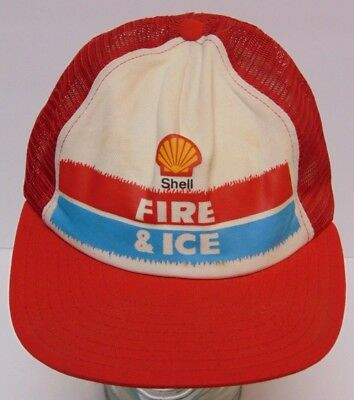 Old Vintage 1970s SHELL GAS OIL FIRE & ICE ADVERTISING SNAPBACK TRUCKER HAT CAP