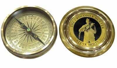 Vintage brass maritime compass crocodile hunter compass gifted item nautical