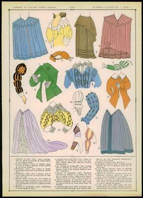c1920 ANTIQUE PRINT French Female Fashion JUPES SKIRTS Train Sleeves  (013)