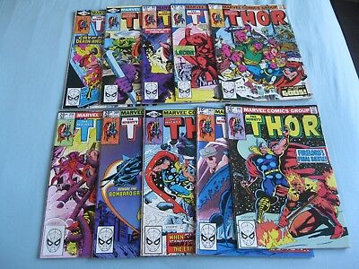 Thor 301 - 310 (10 comics). These  issues are from 1980/81, condition varies