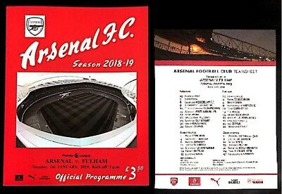 Arsenal v Fulham Premier League Programme With Team Sheet 1st January 2019