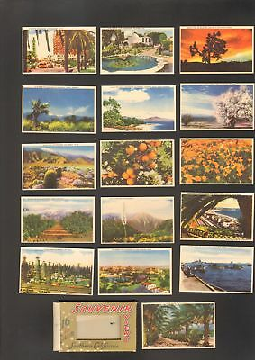 Undated Travel Souvenir Miniature 16 Views of Southern California CA