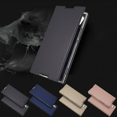 For Sony Xperia XA1 XA2 XZ1 XZ2 Slim PU Leather Flip Wallet Magnetic Case Cover