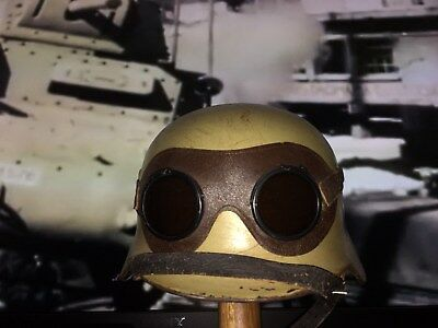 WW2 GERMAN HELMET-REFURBISHED DAK M35 with Original DAK Goggles