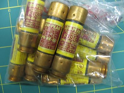 NINE Bussmann LPN-RK-60SP, Low Peak Time Delay Fuse, 250 VAC 125 VDC  - NOS