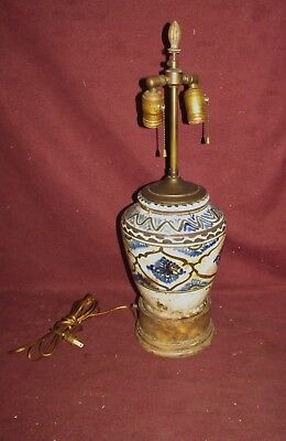 Antique Persian or Middle Eastern Ceramic Vase Mounted as Lamp