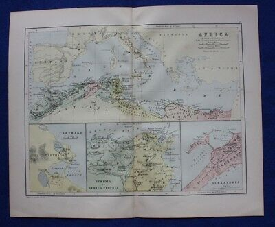 Original antique map NORTH AFRICA, MEDITERRANEAN, CARTHAGE, Johnston, c.1864