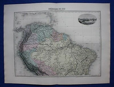 Original antique map SOUTH AMERICA, BRAZIL, VENEZUELA, COLOMBIA, Migeon, 1891