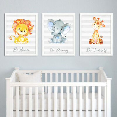 Safari Jungle Animals Lion Elephant Nursery Childs Room Prints Set Grey Decor A4