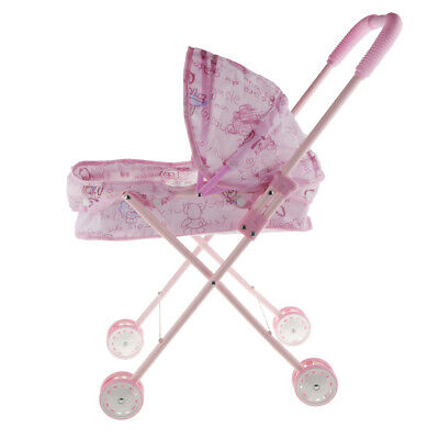 Pink Baby Doll Stroller Carriage Folding Wheel Pushchair Toy With Hood