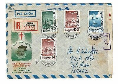 Finland 1951 FIrst Day Cover to Israel / Censored - Z91