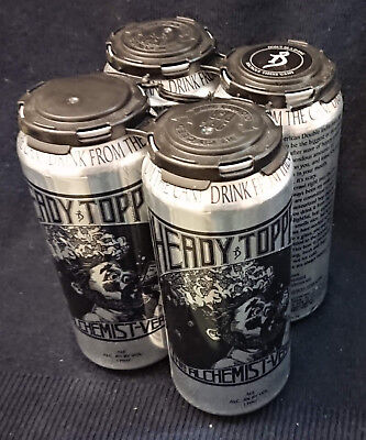 4 Heady Topper IPA EMPTY Beer Cans + Holder Alchemist Waterbury Vermont Brewery