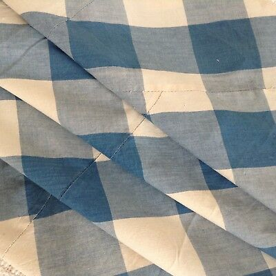 Antique French Vichy check fabric  blue rare lovely faded 19th c. shabby chic