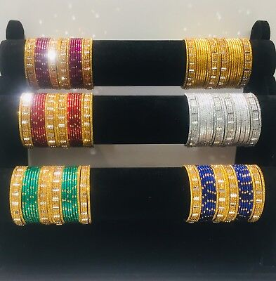 Indian Pakistani Kids Sizes mat Bangles Chudi With Gold Colour 24 Chudiya Girls