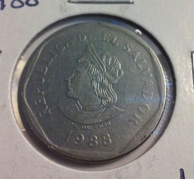 1988 El Salvador 1 Colon Coin - KM#156  - Christopher Columbus (#IN3672)