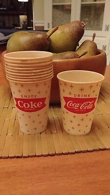 Vintage COCA COLA Drink Cups COKE 1960s Soda Fountain Paper Cups Set of 10
