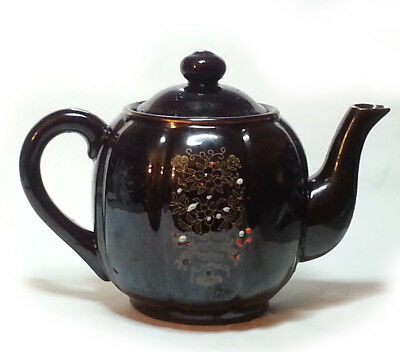 Teapot 4 Cup Brown Decorated Porcelain