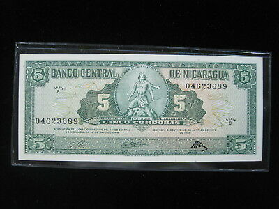 Nicaragua 5 Cordobas 1968 P116 Unc 18# Bank Currency Banknote Paper Money