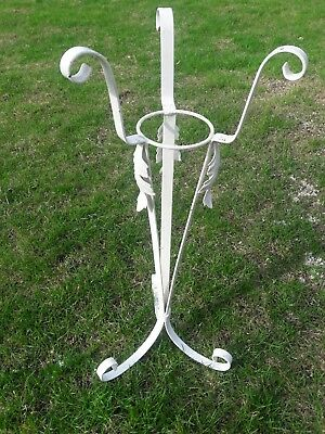 Vintage Scroll/Leaf Wrought Iron Plant Stand