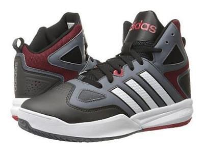 super popular 63cc4 84856 Adidas Neo Cloudfoam Thunder Mid Grey Black Red Basketball Sneaker Shoes 13