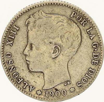 M625 Espagne 1 Peseta Alfonso XIII 1900 SM. V. Argent Silver -> Faire Offre