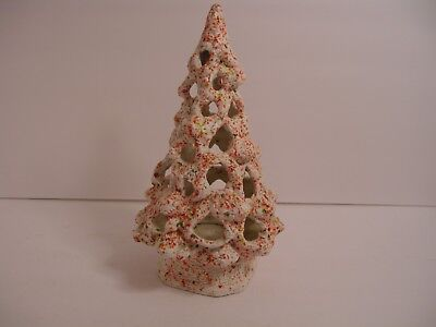 "Vtg 12"" Ceramic Tree, white with speckles and large holes on matching base loc2"