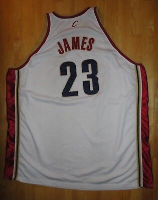 LeBRON JAMES Reebok Authentic CLEVELAND CAVALIERS White Sewn Jersey - Adult 60
