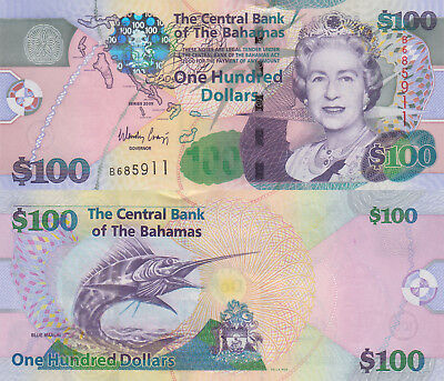 Bahamas 100 Dollars (2009) - QEII/Sailfish p76 UNC