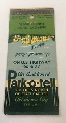 Vintage Matchbook Cover Matchcover Park O Tell Hotel Oklahoma City OK Route 66