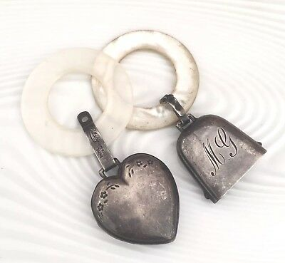 Antique Sterling Silver Mother of Pearl Rattle Teething Ring LOT OF 2 Heart Bell
