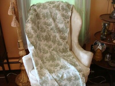 Vintage Country Cotton Toile Fabric French Style Upholstery Green 3.4 Yds