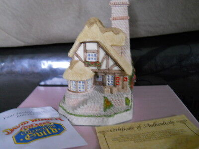 "DAVID WINTER Cottages ""AUDREY'S TEA ROOM"" 1991 Hand Painted, COA & BOX Britain"