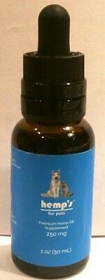 Hemp Oil Drops for Pets (Dogs & Cats) 250mg for Anxiety, Pain, Arthritis & more