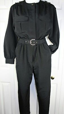 Womens Vtg CHAUS 1980s 80s One Piece dressy Jumpsuit with belt size small