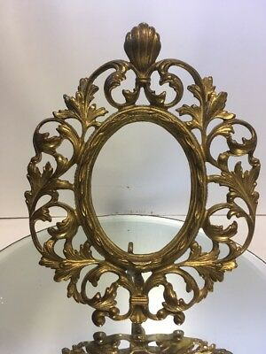 Antique Gold Gilt Victorian Baroque Ornate Cast Iron Picture Frame Lot2