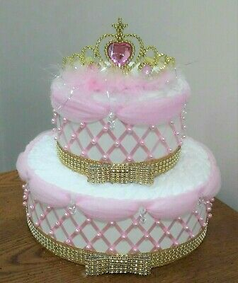 A Little Princess Themed Baby Girl Shower 2 Tier Pink and Gold Bling Diaper Cake