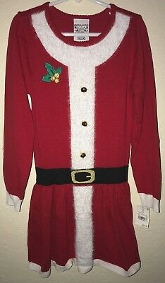 Girls Dress Red Christmas Tree X-mas Jingle Bell Holiday Size 4-10 Pageant
