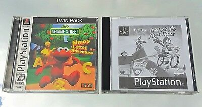 Ps1 Tiny Toons Plucky's Adventure + Sesame Street Elmo Letter Game (Lot Of 2)