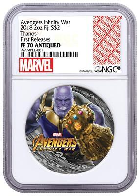 2018 Fiji Silver $2 - Marvel Characters - Thanos - PF70 ANTIQUED FR - NGC Coin